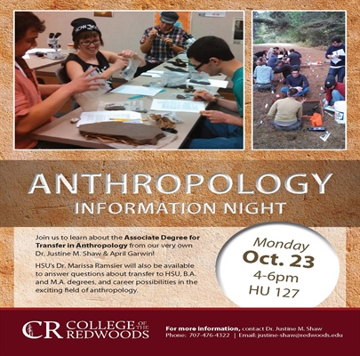 Anthropology Information Event on Oct. 23rd