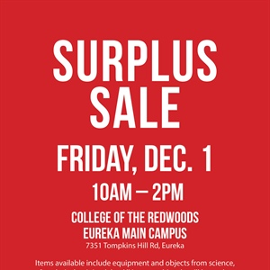 College of the Redwoods holds surplus sale Dec. 1st