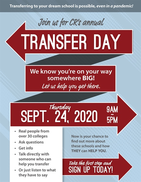 Last Chance to Sign Up For CR's Virtual Transfer Day!