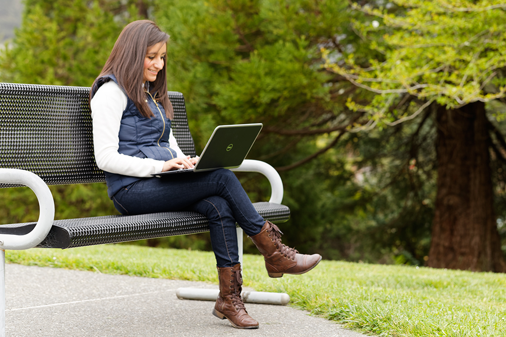 home page Image Person, Parkbench, Laptop